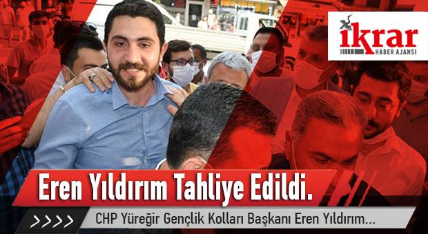 CHP Yüreğir Gençlik Kolları Başkanı Eren Yıldırım, bugün tahliye edildi.
