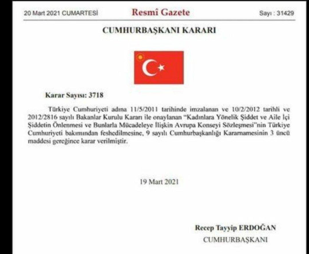 Türkiye Erdoğan'ın kararıyla İstanbul Sözleşmesi'nden ayrıldı…