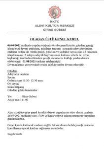 KKTC Alevi Kültür Derneği Girne Şubesi Genel Kurulu ertelendi
