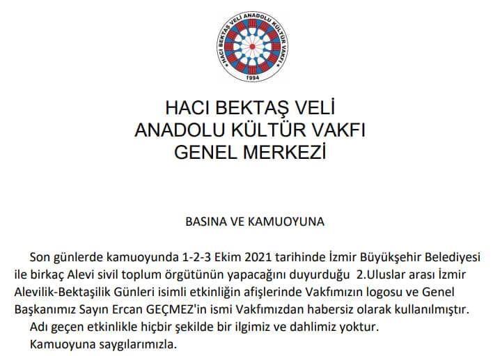 """Hacı Bektaş Anadolu Kültür Vakfı'ndan Açıklama; """"Logomuz bizden habersiz kullanıldı"""""""