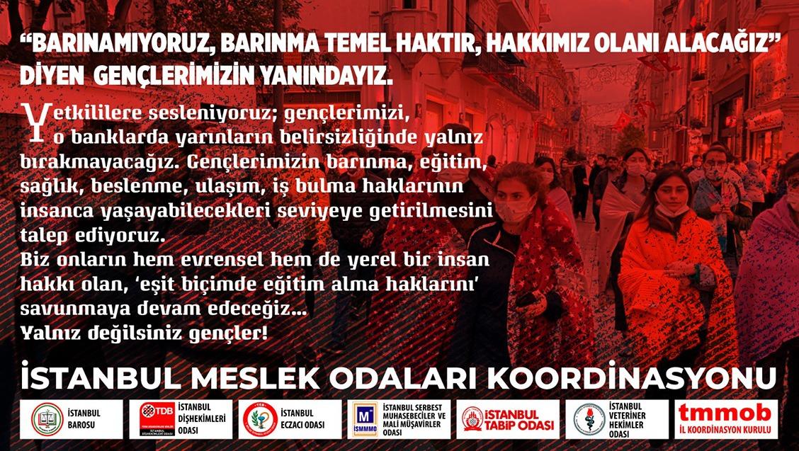 """İstanbul Meslek Odaları Koordinasyonu'ndan açıklama; """"Barınma en temel haktır"""""""